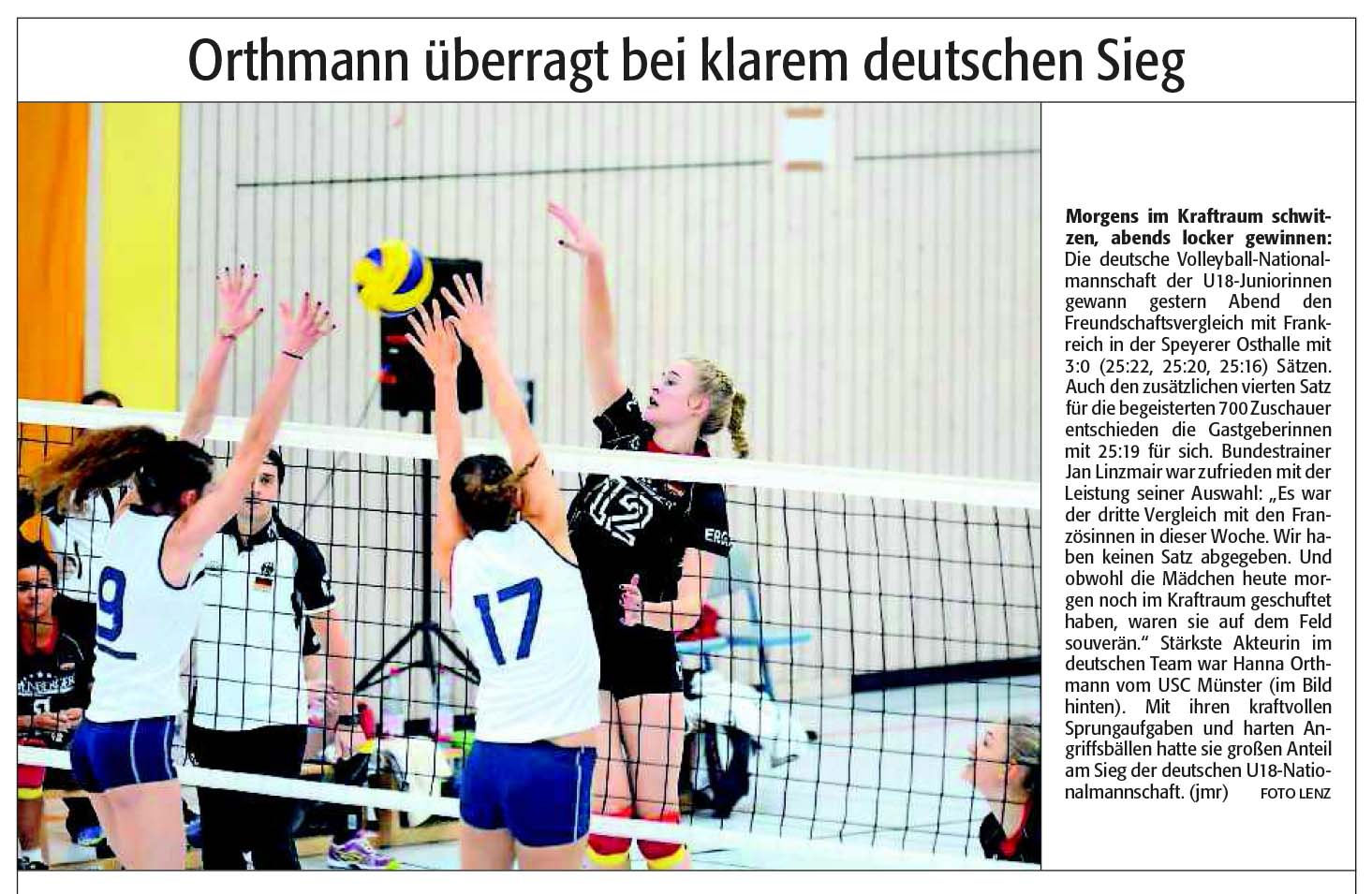 U18-Juniorinnen Nationalmannschaft in Speyer